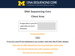 DNA Sequencing Core Sample Submission Page